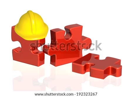 Parts of puzzle and hat. Objects on white background