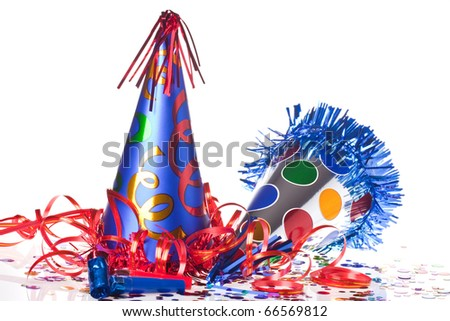 Party accessories on white background - stock photo