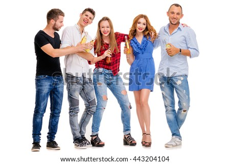 Party and relax. Group of five happy smiling friends with bottles of beer having fun together. Isolated on white. - stock photo