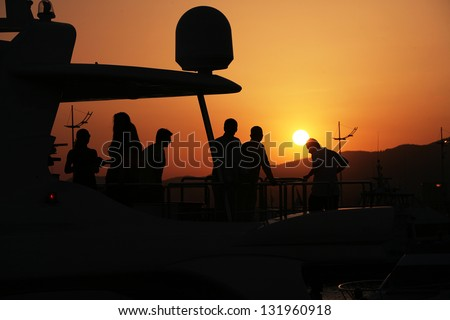 party at boat - stock photo