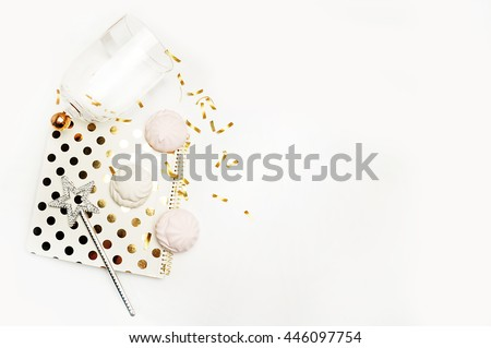 Party background mockup. Flat lay. Notebook polka gold with cakes and magic star, confetti. Header for site or Hero - stock photo