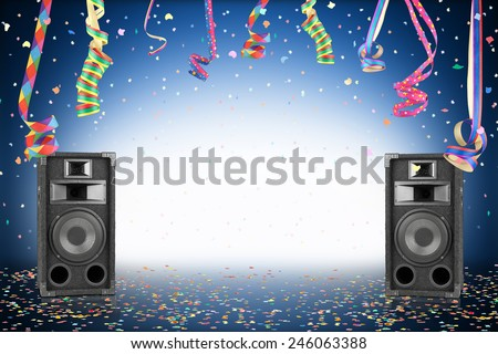 Party background with confetti, streamer and speakers - stock photo