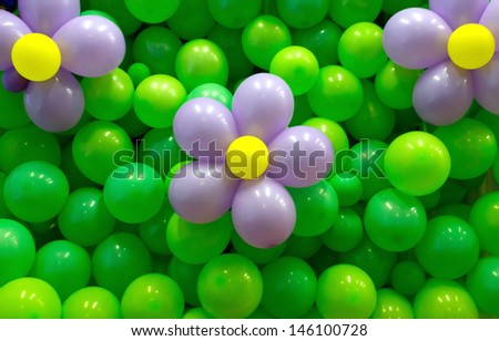 Party balloon background with flowers balloons - stock photo