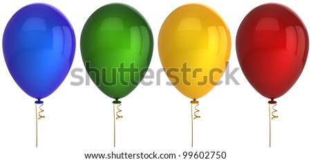 Party balloon birthday balloons 4 four decoration blue green yellow red. Baloons blank design element greeting card. Anniversary celebrate holiday concept. 3d render isolated on white background - stock photo