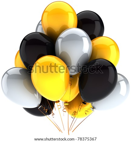 Party balloons birthday holiday celebration decoration multicolor yellow black grey. Happy joy abstract. Anniversary greeting card element. Detailed CG image 3D render. Isolated on white background - stock photo