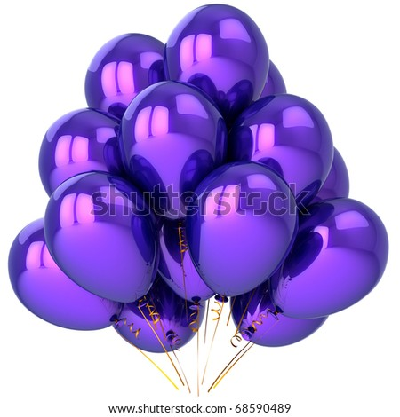 Party balloons blue purple helium balloon birthday decoration anniversary graduation retirement holiday celebration greeting card design element. 3d render isolated on white background