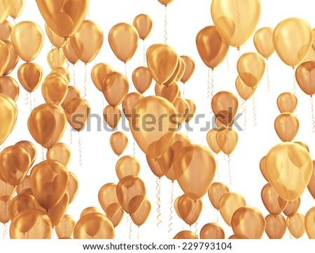 Party balloons celebration background golden texture - stock photo