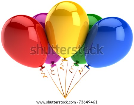 Party balloons 5 five multicolor shiny happy birthday celebrate decoration. Joy fun positive abstract. Anniversary graduation retirement greeting card. Detailed 3d render. Isolated on white background - stock photo