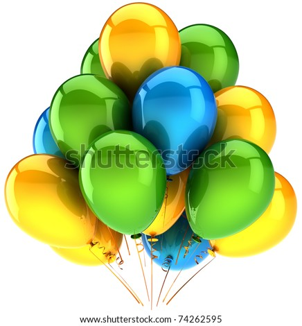 Party balloons green yellow blue colorful birthday celebrate holiday anniversary graduation retirement decoration. Elegance shiny greeting card design element. 3d render isolated - stock photo