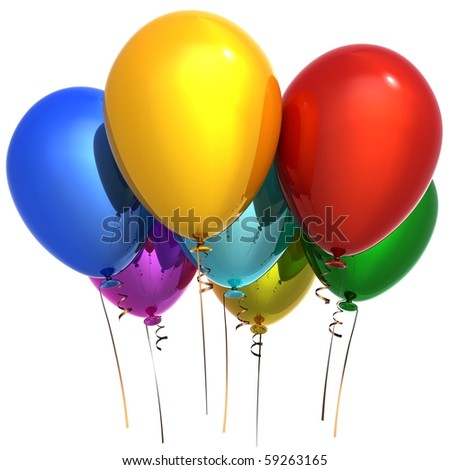 Party balloons happy birthday decoration 7 colorful multicolor. New Year Christmas greeting card. Seven anniversary retirement graduation concept. 3d render isolated on white background