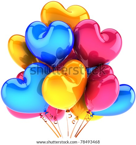 Party balloons heart shaped birthday holiday decoration multicolor pink blue yellow colorful romantic love Valentine's Day 14 february celebration greeting card design element. 3d render isolated