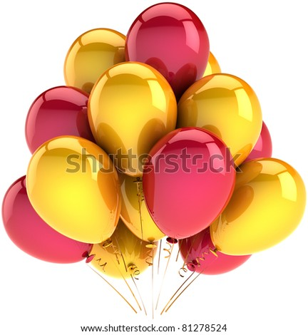 Party birthday balloons decoration yellow red colorful celebration new years eve christmas holiday anniversary graduation life events occasion greeting card 3d render isolated on white background - stock photo