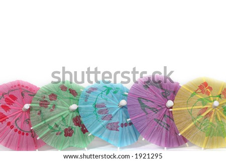 party border with paper umbrellas - stock photo