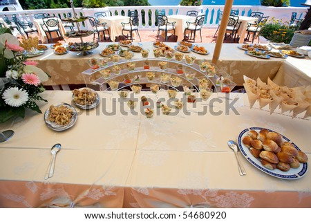 Party buffet with appetizers - stock photo