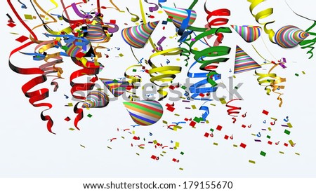 party carnival confetti streamers hats