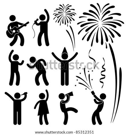 Party Celebration Event Festival People Nightlife Joyful Karaoke Singing Dancing Firework Icon Sign Symbol Pictogram - stock photo