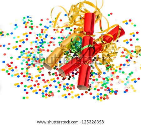 party cracker, golden streamer and confetti over white. festive decoration background - stock photo