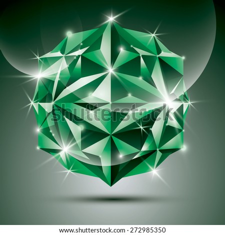 Party 3D green shiny disco ball. fractal dazzling abstract illustration - jewel. Gala theme. Fantastic object. - stock photo