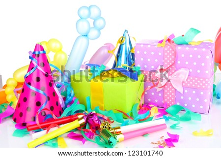 Party decoration isolated on white - stock photo