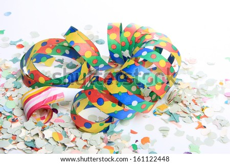 party decoration, streamers and confetti as decoration - stock photo