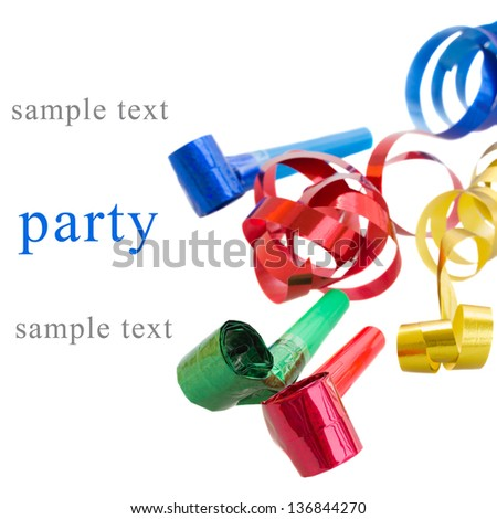 Party Decoration  - whistles and curling paper isolated on white background - stock photo