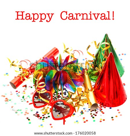 party decorations garlands, confetti, streamer, cracker, glasses. festive background with sample text Happy Carnival! - stock photo