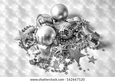 Party decorations in black and white on textured background