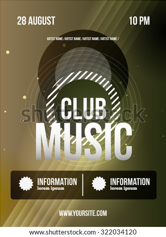 Party Flyer Club Music Flyer Dj Stock Illustration 322034120