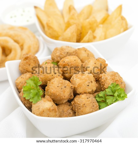 Party Food - Popcorn chicken, potato wedges, onion rings and breaded mushrooms on a white background. - stock photo