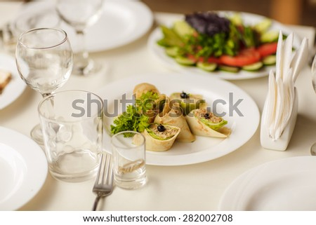 Party food table wedding dinner or birthday party snacks and salad, selective soft focus, series - stock photo
