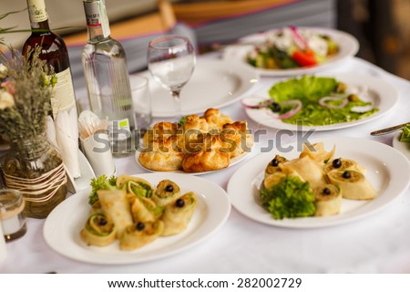 party food table wedding dinner birthday stock photo royalty free