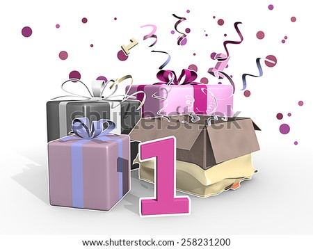 Party for the first - presents in pink tones - stock photo