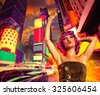 Party girl pink wig dancing in Times Square of New York Photomount - stock photo