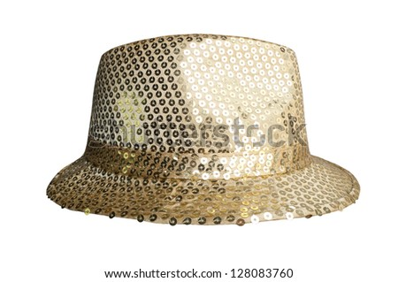 Party gold hats on white background - stock photo