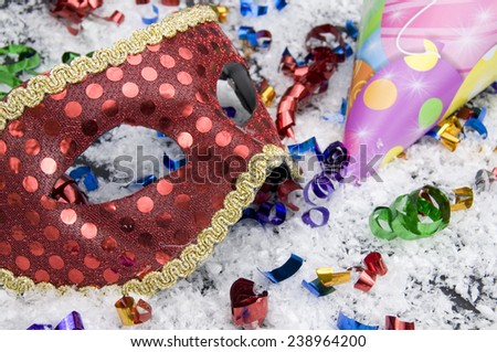 Party Hat and Mask close View - stock photo