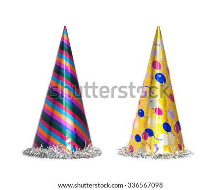 Party hat isolated on the white background, New year celebration items - stock photo