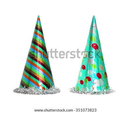 Party hat isolated on the white background, New year celebration items