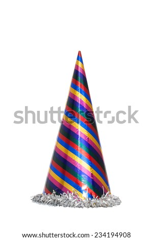 Party hat isolated on the white, New year celebration items - stock photo