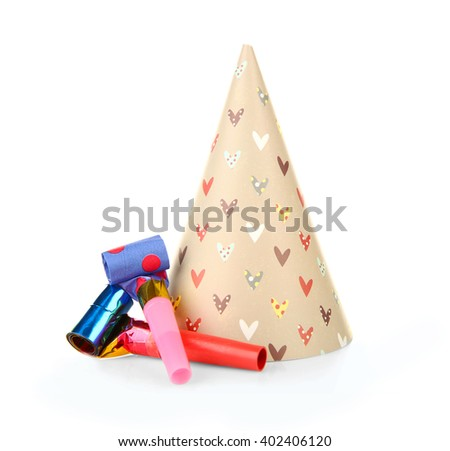 Party hat with blowers, isolated on white - stock photo