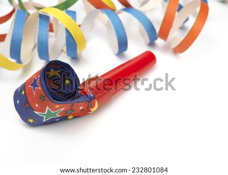 Party Horn Blower with streamers - stock photo