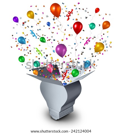 Party ideas and celebration event planning concept as an open cardboard box shaped as a lightbulb with festive balloons confetti and streamers coming out as a symbol of fun thinking.