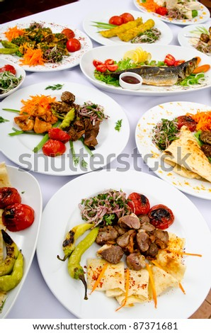 Party meals on the table - stock photo