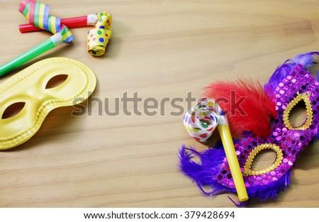 Party Novelties on Wooden Background - stock photo