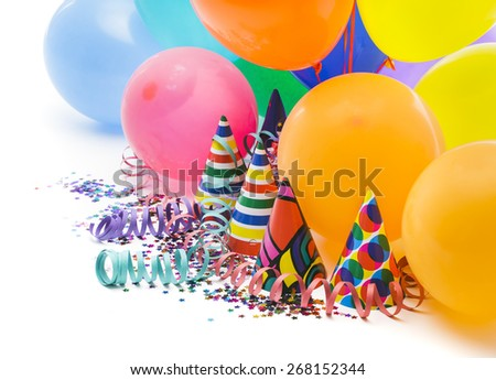 Party objects on white background - stock photo