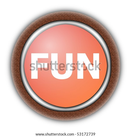 party or fun button for a happy day isolated on white