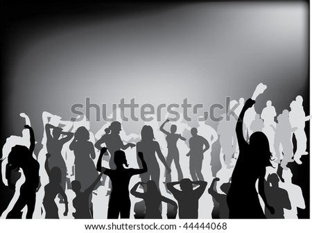 party people black silhouette illustration
