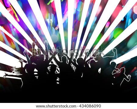 Party People Silhouettes and Bokeh Design with double exposure effect - stock photo