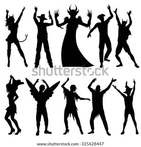 Party people silhouettes in halloween costumes