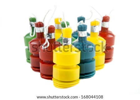 Party poppers stand ready to celebrate the New Year - stock photo