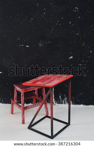 party, red, board, chalk office workshop training school class room space - stock photo